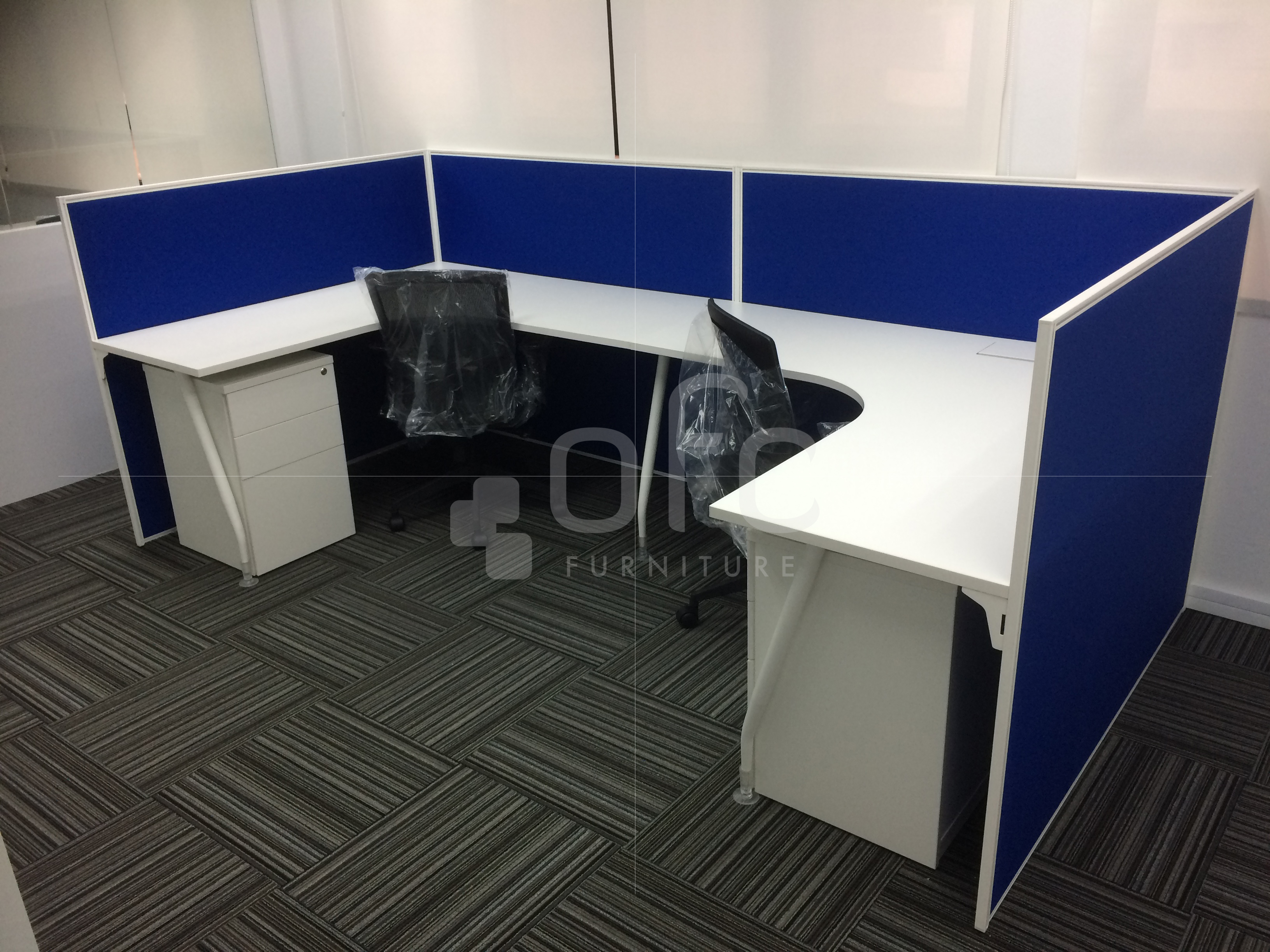 custom-designed office workstation in sg in blue and white color