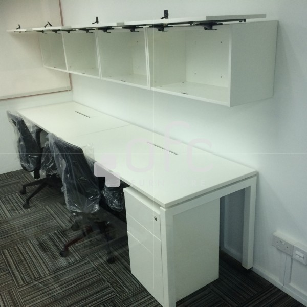 office workstation furniture set with over head cabinet for Singapore