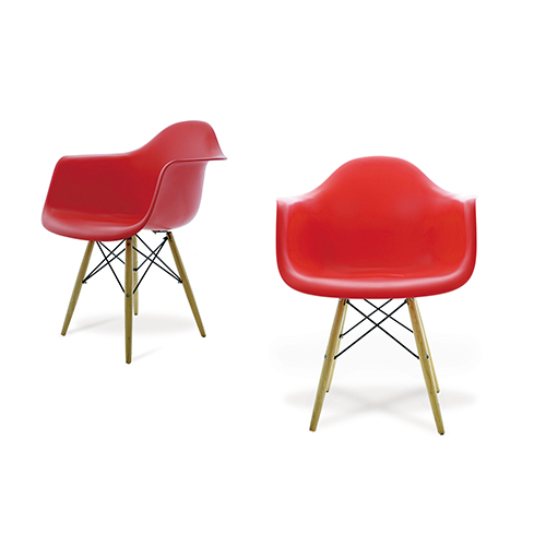 winged chair in red by office by furniture supplier in Singapore