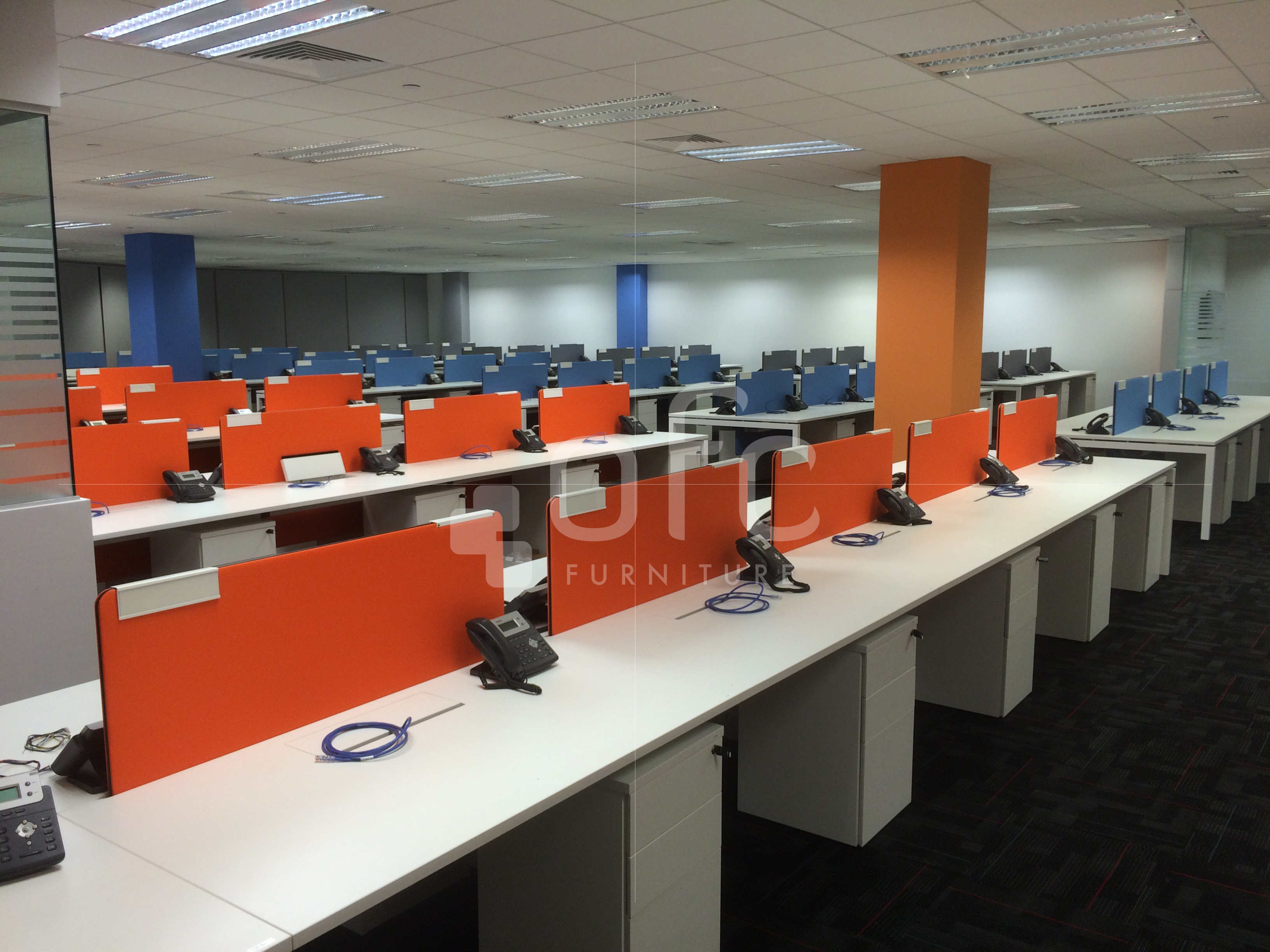 orange-colored custom design workstation in sg